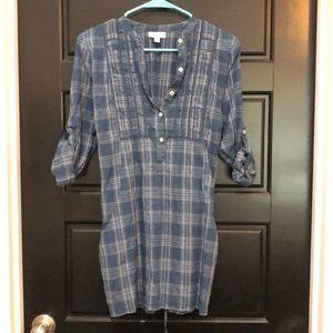 Blue plaid print maternity tunic